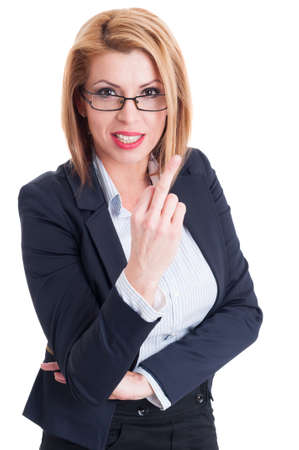 obscene: Business woman showing the middle finger. Obscene hand gesture on white background Stock Photo