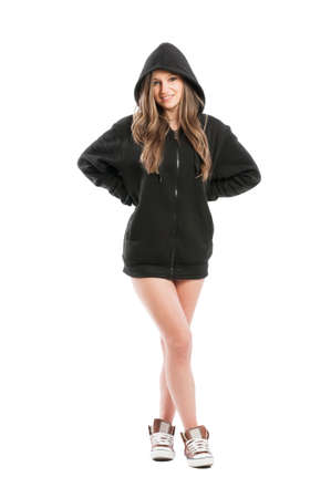 kinky: Sexy, cute, kinky and adorable female wearing a black hoodie standing isolated on white background