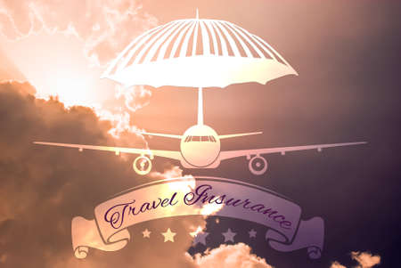 insurance policy: Travel insurance concept made with plane and protective umbrella shape on sky background