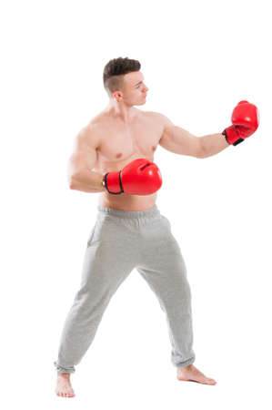 opponent: Boxer challanging and opponent isolated on white background