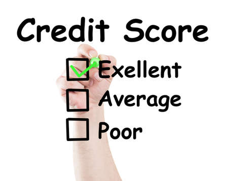 Credit score excelent checked box made by hand using a marker on transparent wipe board with white background photo
