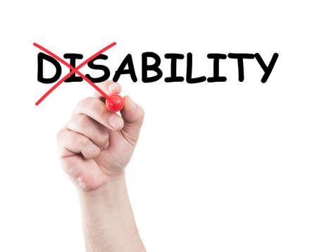 discapacidad: Concepto de Incapacidad escrita a mano con un marcador en transparente limpie la placa con fondo blanco y copia espacio