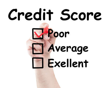 Credit score poor checked box made by hand using a marker on transparent wipe board with white background photo