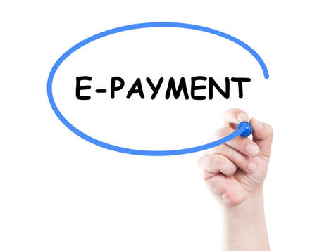 E payment concept made by a human hand holding a marker on transparent wipe board photo