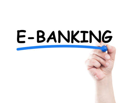 e banking: E banking concept made by a human hand holding a marker on transparent wipe board
