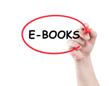 e books: E books concept made on transparent wipe board with a hand holding a marker Stock Photo