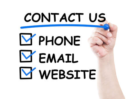 Contact us by phone, email or website check boxes concept made on transparent wipe board with a hand holding a marker photo