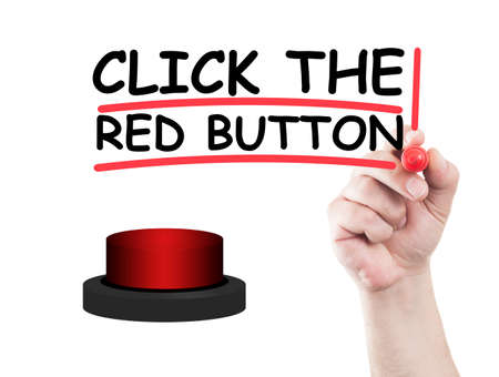 wipe: Click the red button concept made on transparent wipe board with a hand holding a marker