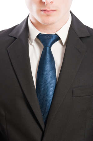 buisness: Buisness man tie, white collar and black suit closeup concept
