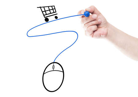 shopping cart: Online shopping concept made using mouse, cart and cable  draw on transparent white wipe board with a hand holding a marker