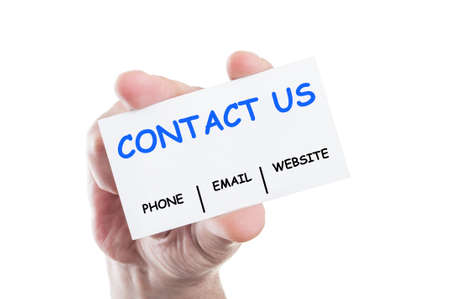 Contact Us using phone number, email or website address concept card hold by hand isolated on white background photo