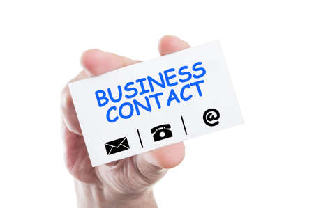 Business contact concept card hold by hand isolated on white background photo