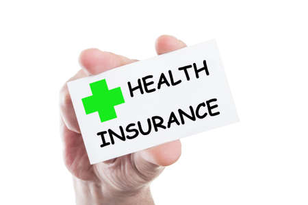 Health insurance concept card hold by hand isolated on white background photo