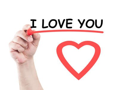 wipe: I love you statement concept text write on transparent wipe board by hand holding a marker