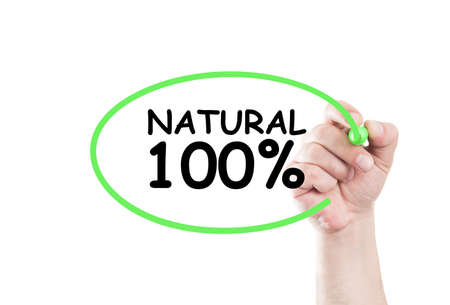 eco slogan: Natural 100 procent text write on transparent wipe board by hand holding a marker Stock Photo