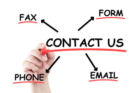 contactus: Contact us concept list write on transparent wipe board by hand holding a marker Stock Photo