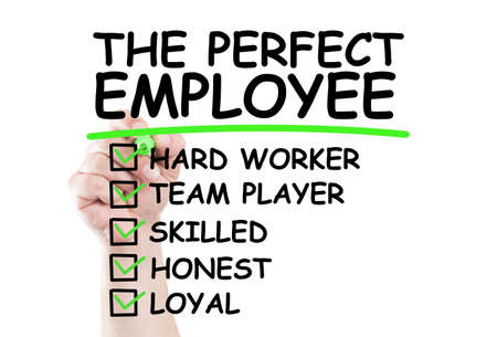 employee: Perfect employee checklist write on transparent wipe board by hand holding a marker