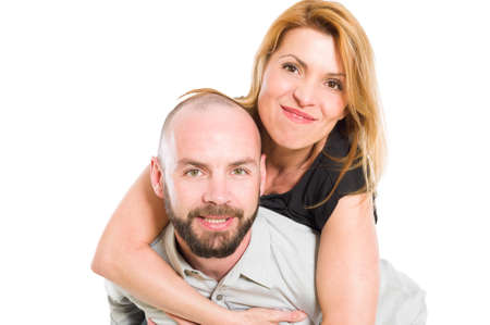 modern love: Husband carrying crazy wife. Happy couple concept on white background