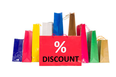 shoppingbag: Shopping discount concept using shopping bags isolated on white background Stock Photo