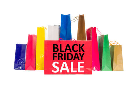 shoppingbag: Black Friday Sale concept using shopping bags isolated on white background