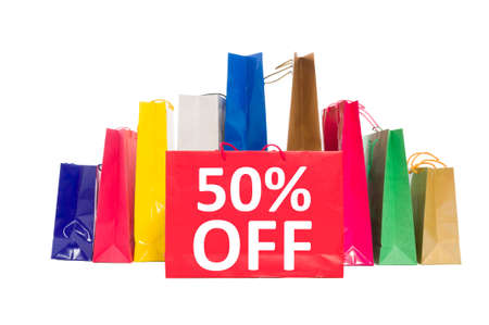 shoppingbag: 50 off discount concept using shopping bags isolated on white background