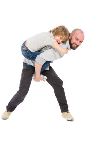 step daughter: Step father playing with daughter concept on white background
