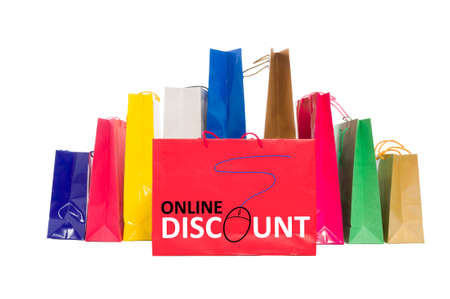 shoppingbag: Online discount concept using shopping bags isolated on white background