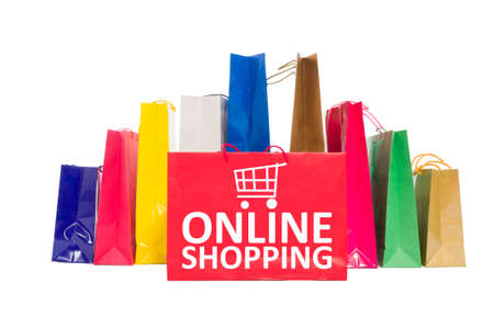 epayment: Online shopping concept using shopping bags isolated on white background Stock Photo