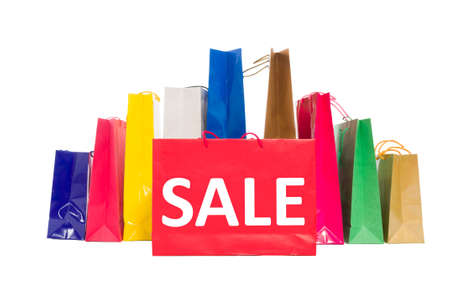 shoppingbag: Sale concept using shopping bags isolated on white background Stock Photo