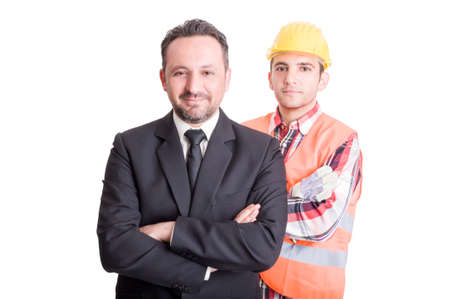 Confident business man and construction worker on white studio background Reklamní fotografie