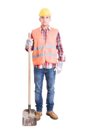 warning vest: Professional builder and his shovel standing isolated on white background