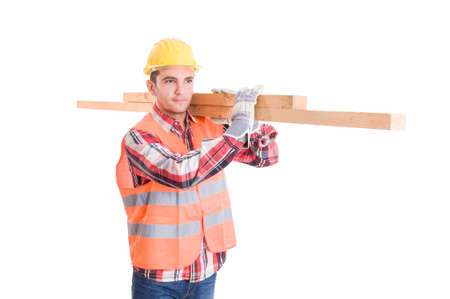 Constructor with yellow helmet carrying woods isolated on white background