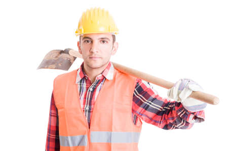shoulder carrying: Construction worker carrying a shovel on shoulder isolated on white background