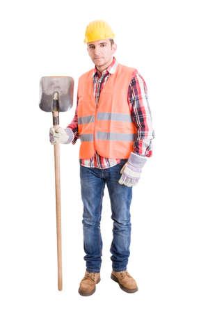 warning vest: Fully equiped builder with helmet, vest, gloves and shovel