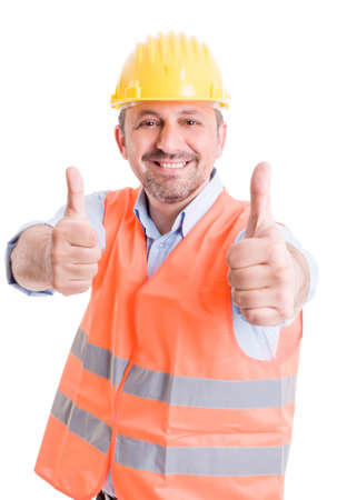 thumbsup: Happy builder showing thumbsup on white background
