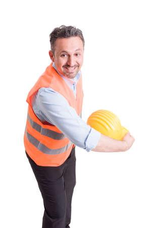 Hurl: Engineer throwing his yellow helmet and acting happy