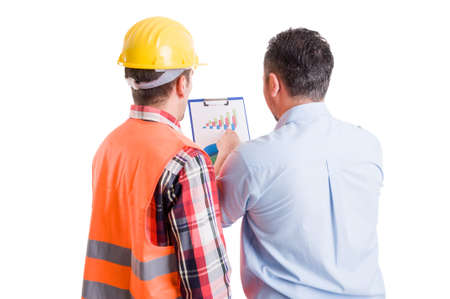 taskmaster: Business developer and contractor builder discussing financial and growing charts or profit diagram