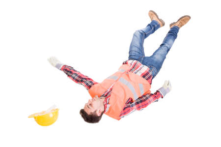 Work accident concept with a construction worker or builder fall on the floor