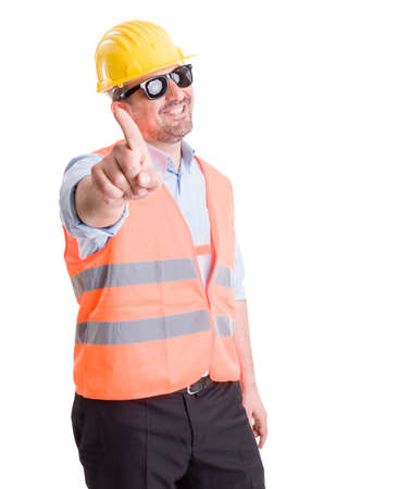 Successful contractor, engineer or architect making refuse or no gesture