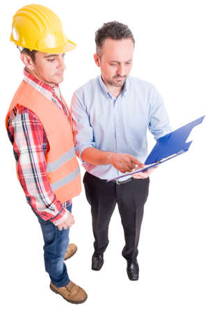taskmaster: Financial manager and contractor checking clipboard papers