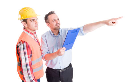 constrution site: Visionary constrution site inspector and builder or contractor on white background