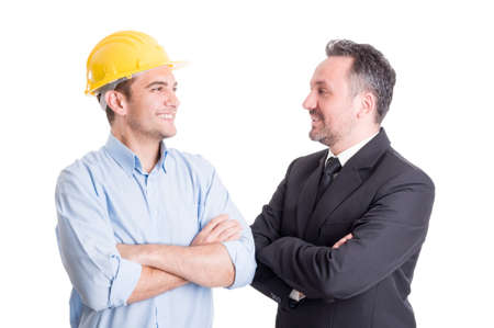 background  white: Confident engineer and business man face to face smiling at each other Stock Photo