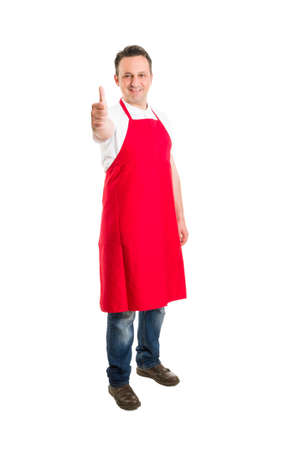 ok sign: Butcher or supermarket worker showing thumbs up or ok sign gesture