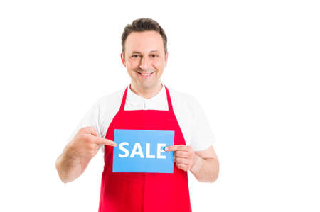 sale sign: Hypermarket employee or worker holding sale sign. Supermarket discount concept Stock Photo