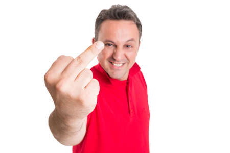middle finger: Angry football fan showing obscene middle finger to the camera Stock Photo
