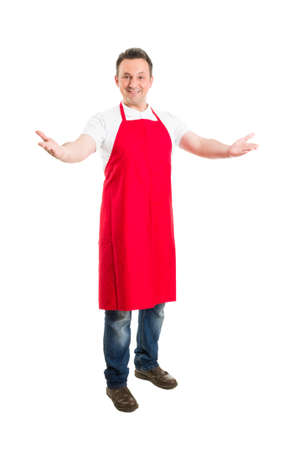 Friendly hypermarket employee with arms wide open inviting people to opening or inauguration
