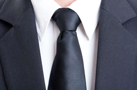 white shirt: Close up with black suit and tie and white shirt