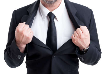 powerfull: Powerfull and strong  business man pulling or ripping suit jacket as a superhero Stock Photo