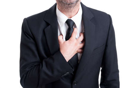 heartattack: Manager or banker having heart attack or lung, breathing problems