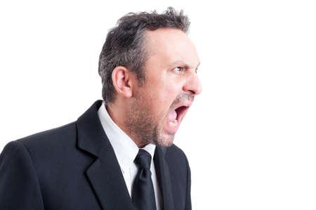 jefe enojado: Enojada y tensionada gritando hombre de negocios. Líder Bossy concepto grito Foto de archivo